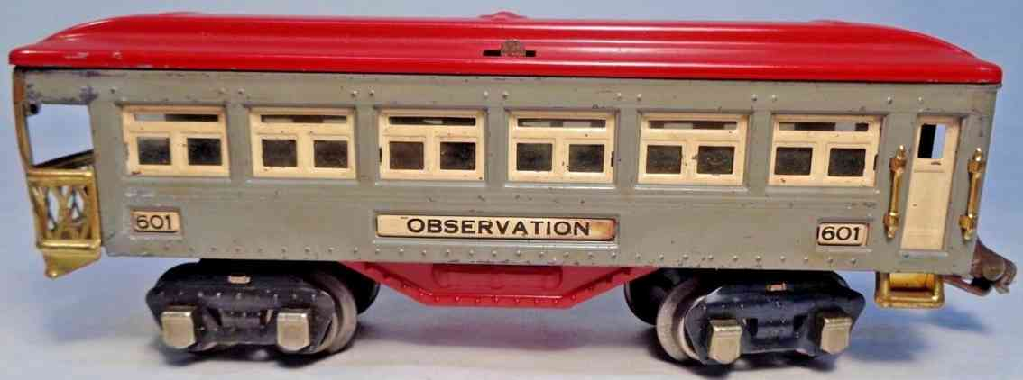 lionel 601 railway toy observation car gray red brass nickel gauge 0