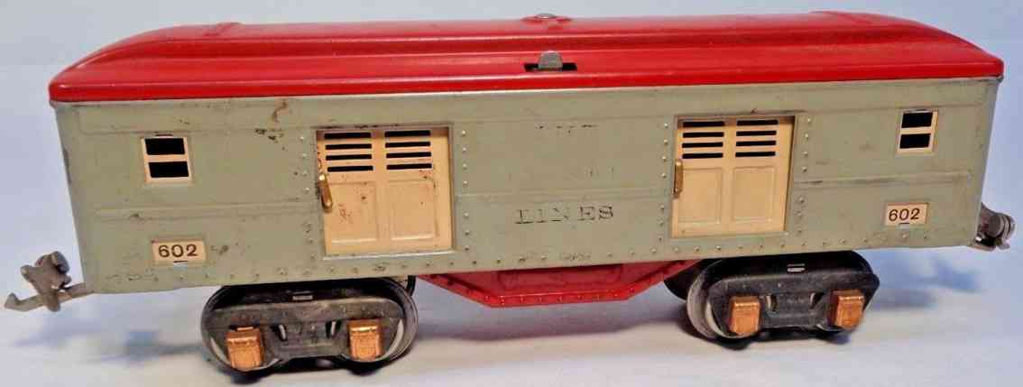 lionel 602 railway toy baggage car gray red brass copper gauge 0