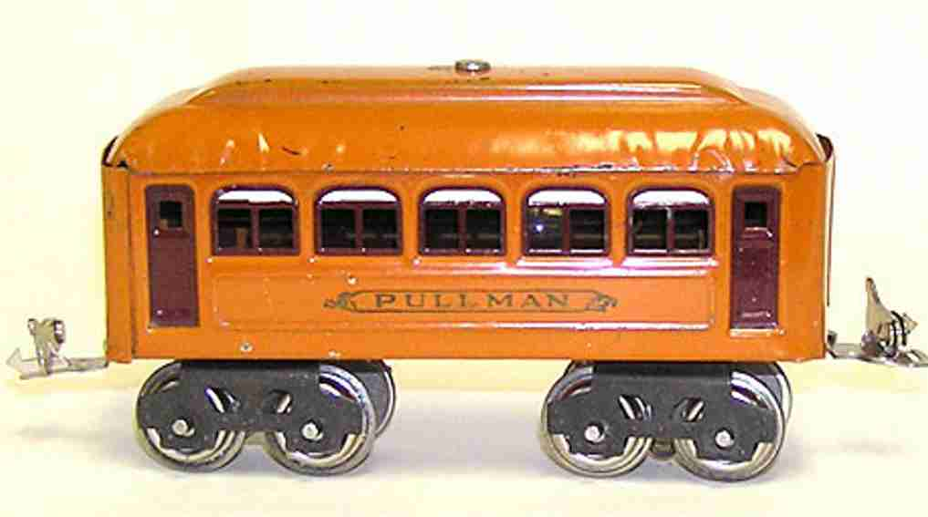 lionel 603 railway toy pullman car yellow orange maroon gauge 0