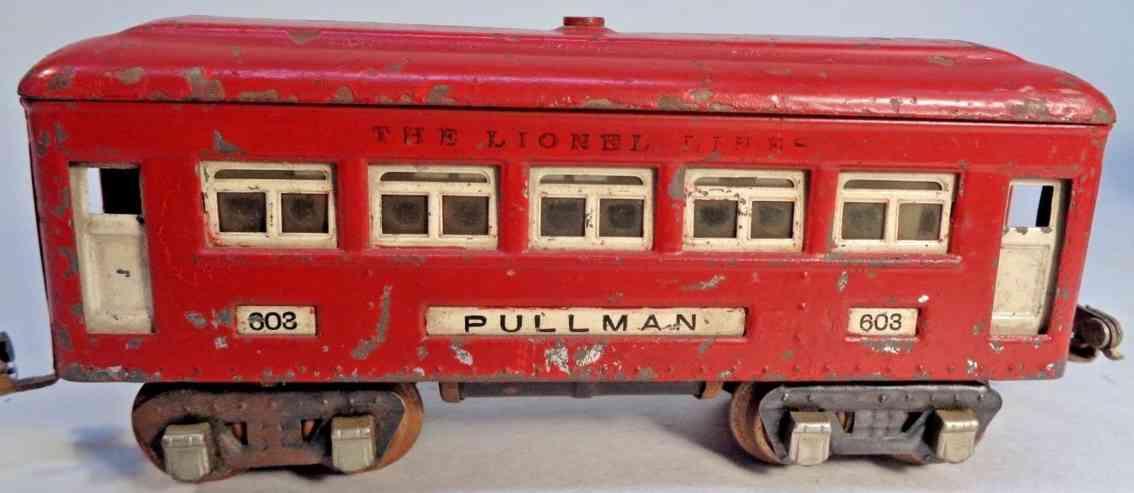 lionel 603 railway toy red comet pullman car gauge 0