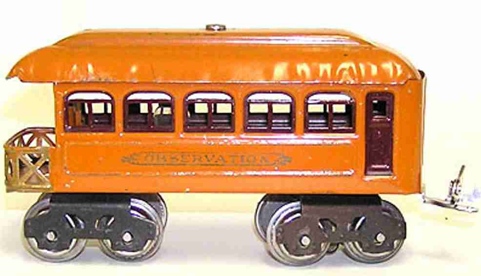 lionel 604 railway toy oberservation car in orange maroon gauge 0