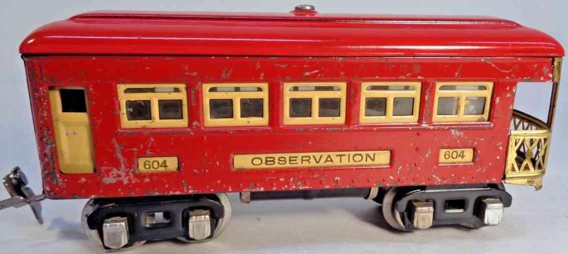 lionel 604 railway toy metal observation car red nickel journal boxes gauge 0