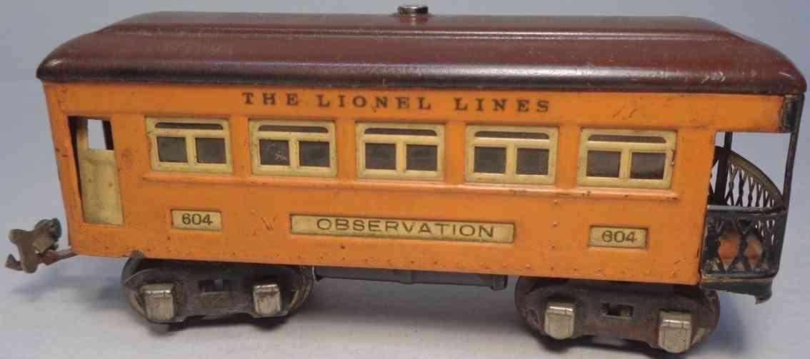 lionel 604 spielzeug eisenbahn personenwagen aussichtswagen orange spur 0