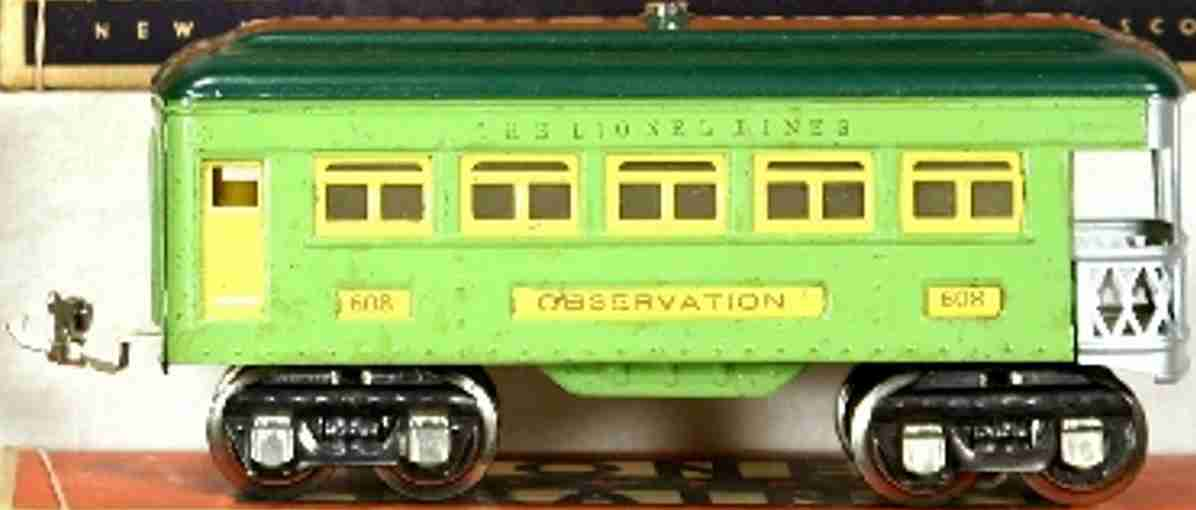 lionel 608 railway toy observation car green yellow gauge 0