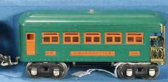 lionel 608 spielzeug eisenbahn aussichtswagen pfauenblau orange nickel spur 0