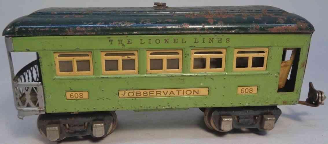 lionel 608 railway toy observation car stephen girard green cream gauge 0