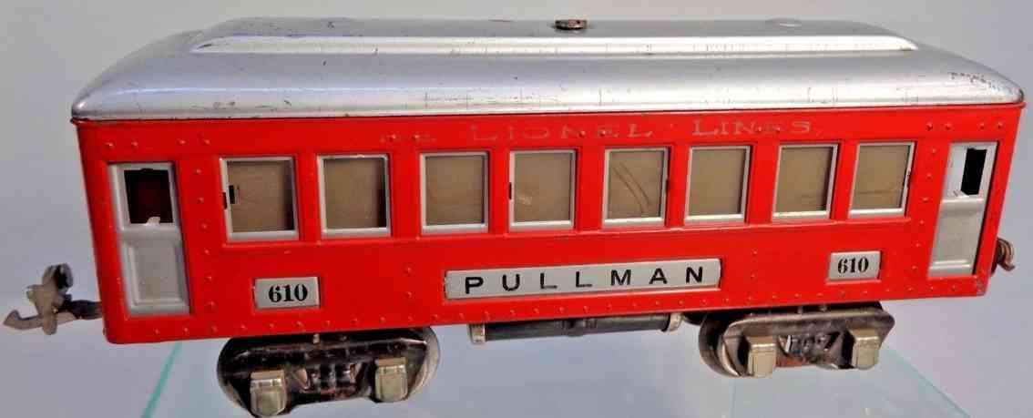 lionel 610 spielzeug eisenbahn schlafwagen rot silbern beleuchtet spur 0