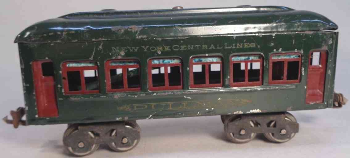 lionel 610 railway toy pullman car olive green red illumintated gauge 0