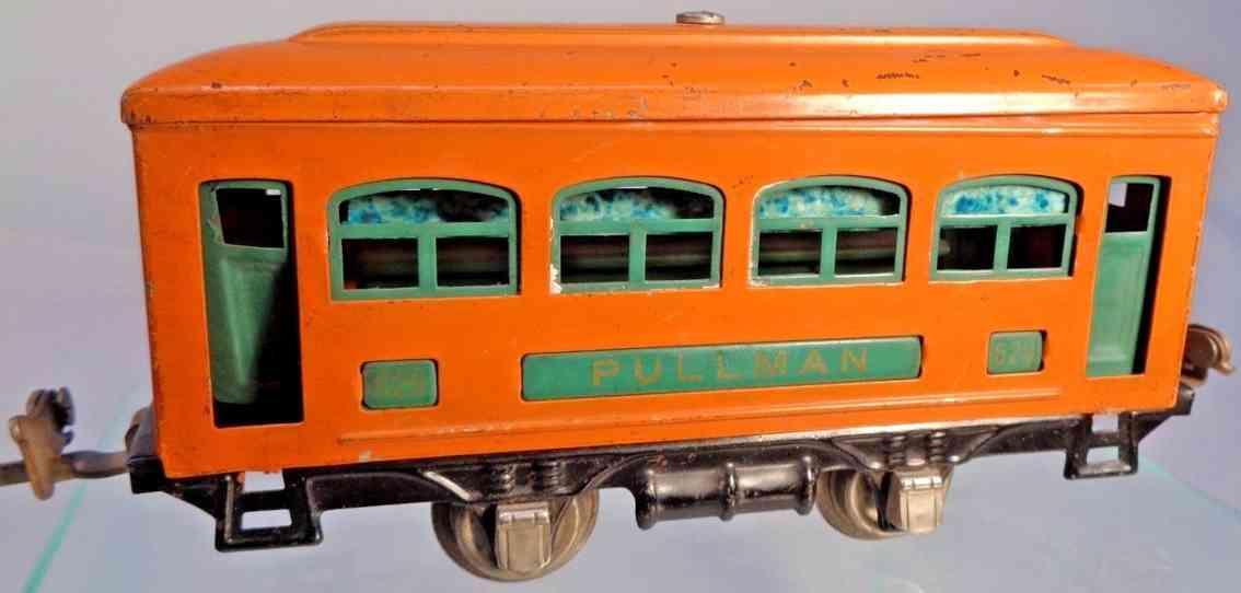 lionel 629 spielzeug eisenbahn schlafwagen orange pfauenblau nickel spur 0