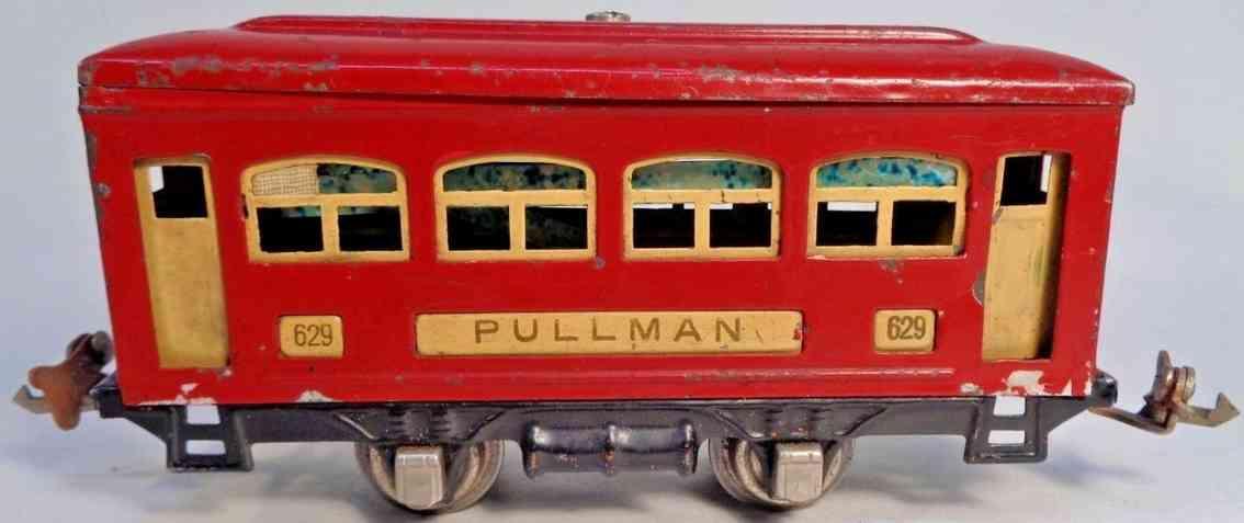lionel 629 railway toy pullman car red cream nickel gauge 0