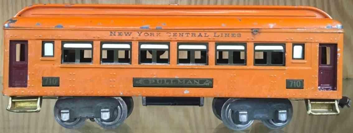 lionel 710/II railway toy pullmann car in orange gauge 0