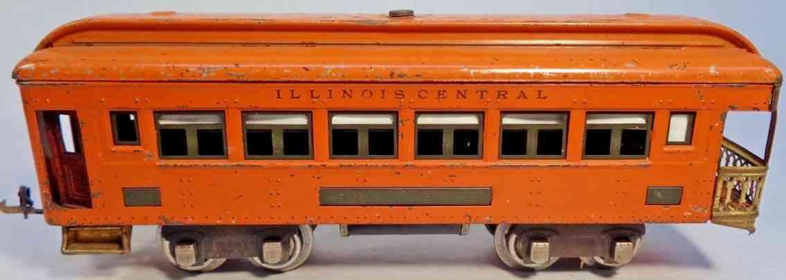 lionel 712  railway toy observation car orange olive green illionis central gauge 0