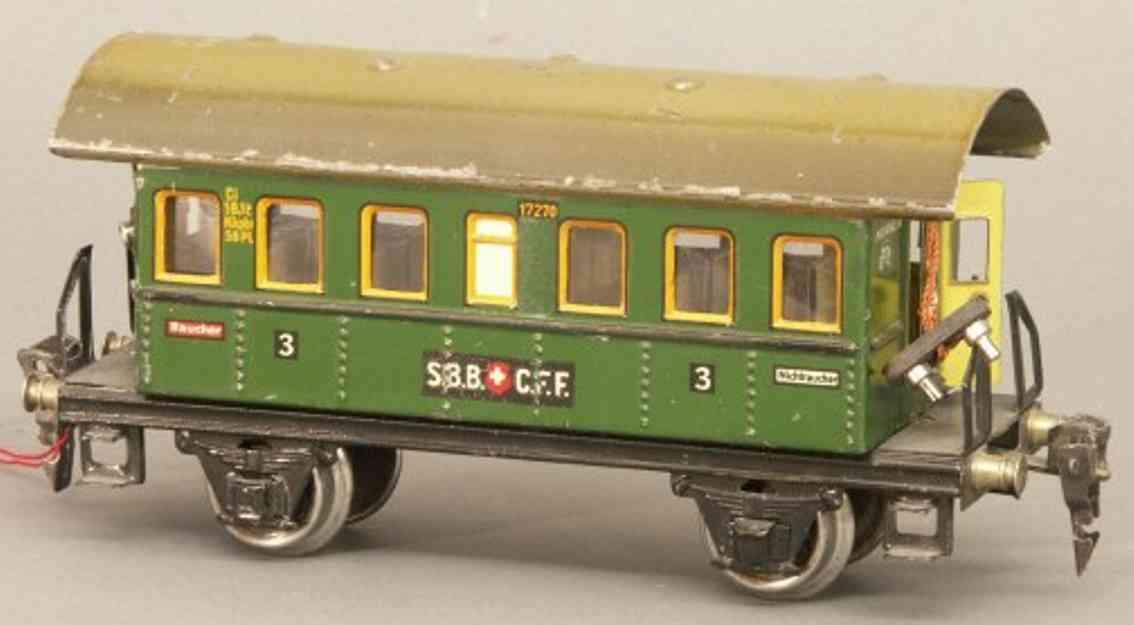 maerklin 1727/0 sbb cff spielzeug eisenbahn personenwagen donnerbuechse gruen spur 0