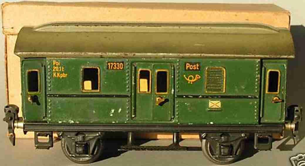 maerklin 1733/0 spielzeug eisenbahn postwagen gruen spur 0