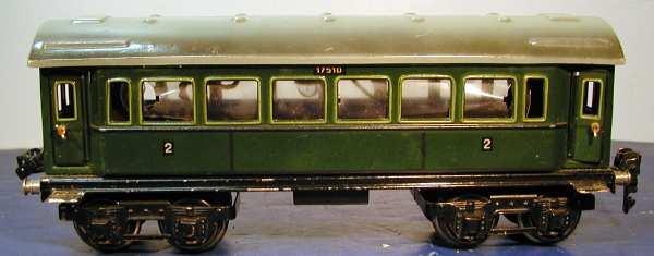 maerklin 1751/0 spielzeug eisenbahn personenwagen 2. klasse gruen spur 0