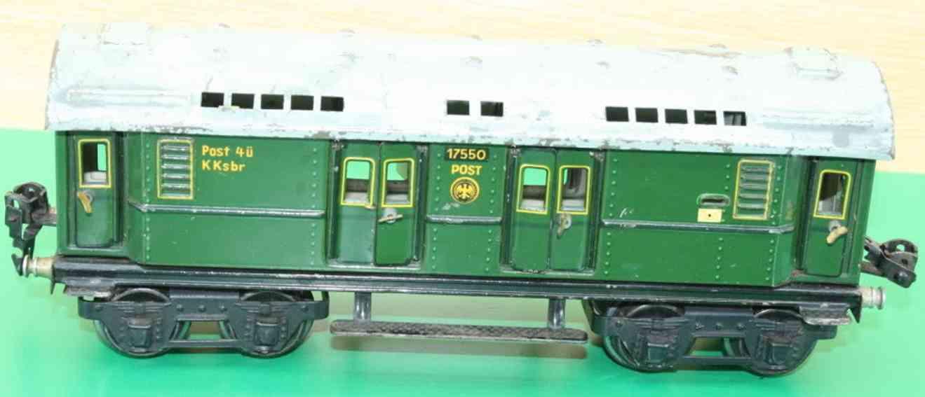 maerklin 1755/0 spielzeug eisenbahn postwagen gruen reichsemblem spur 0