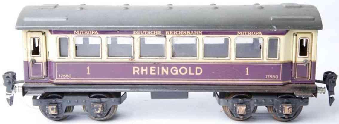 maerklin 1758/0 spielzeug rheingoldwagen violett creme spur 0