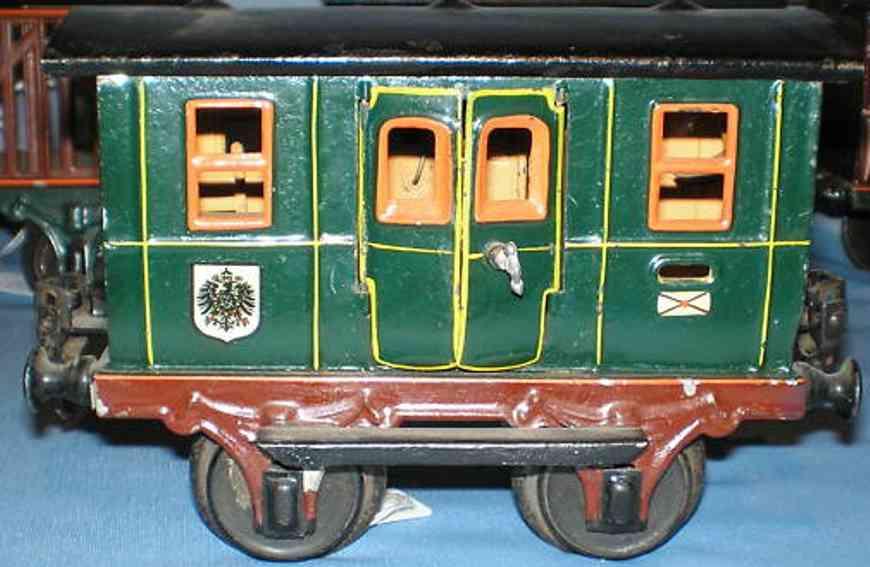 maerklin 1802/1 spielzeug eisenbahn kaiserlicher postwagen in dunkelgruen spur 1