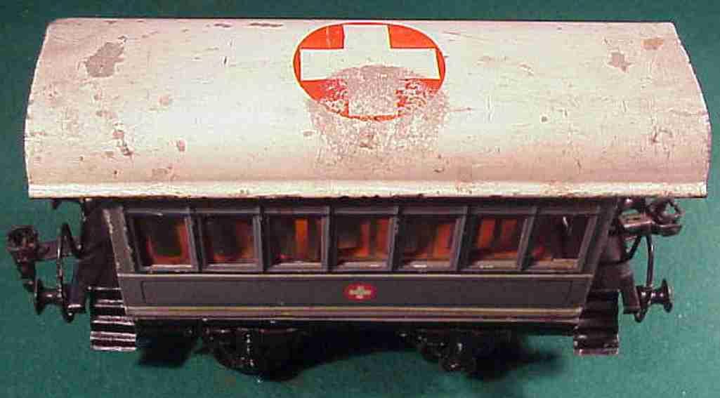 maerklin 1828/0 spielzeug eisenbahn sanitaetswagen in grau spur 0
