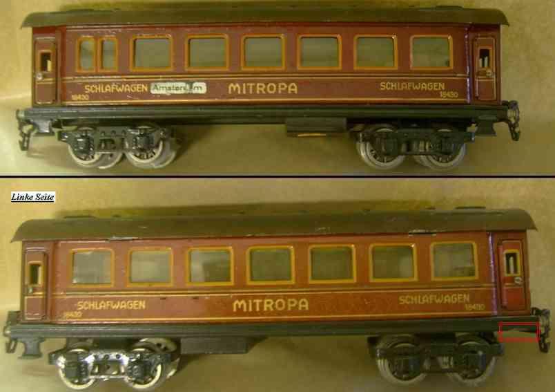 maerklin 1843/0 spielzeug eisenbahn schlafwagen mitropa-rot spur 0