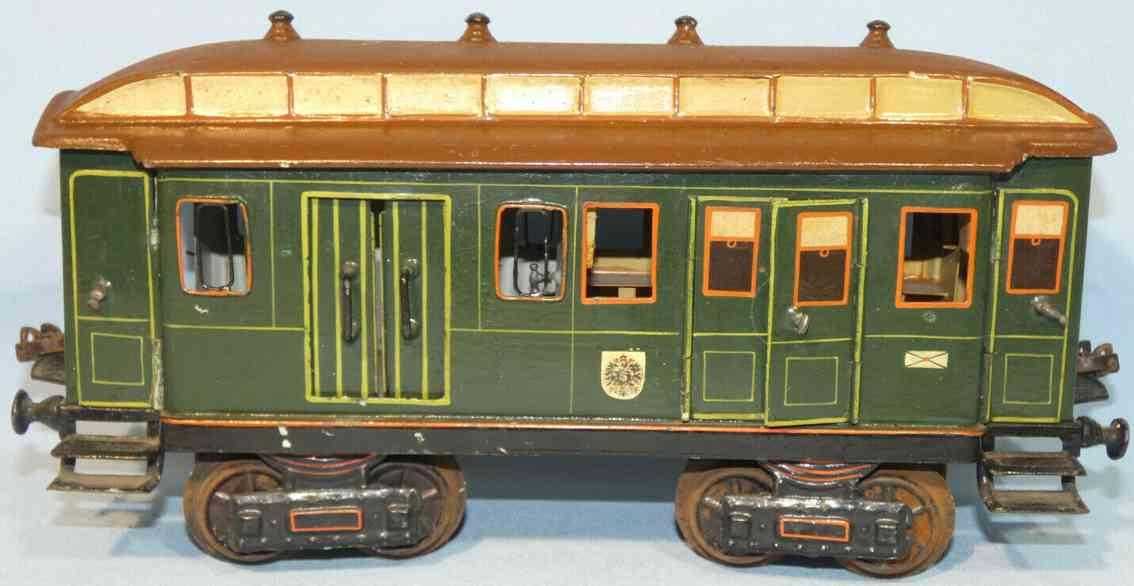 maerklin 1844/1 k 1902 spielzeug eisenbahn post-gepaeckwagen gruen braun spur 1