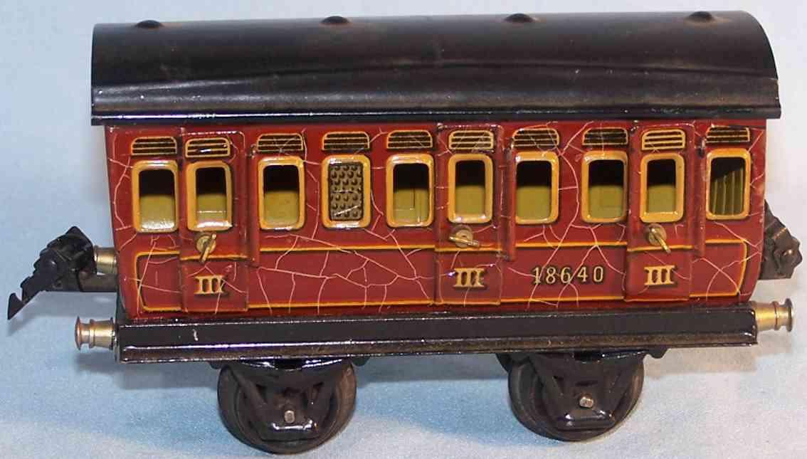 marklin 1864/0 spielzeug eisenbahn personenwagen abteilwagen in rotbraun spur 0