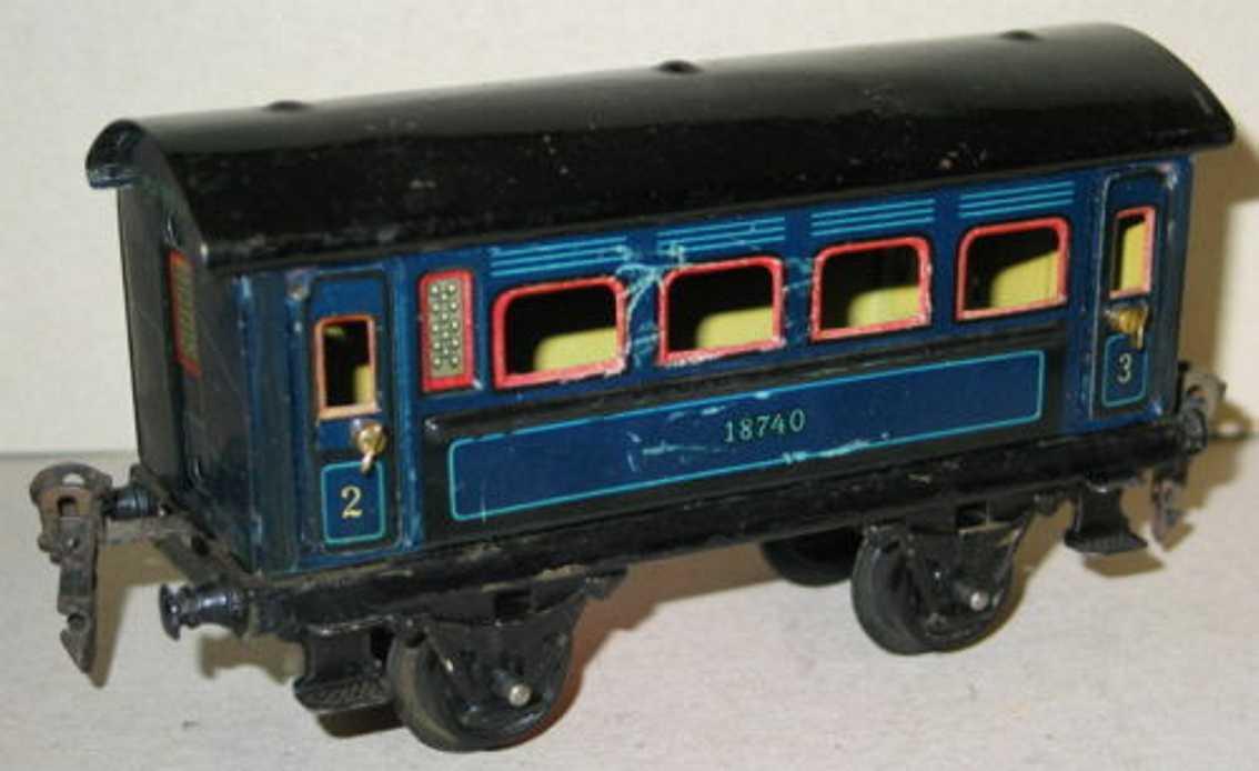 maerklin 1874/0 spielzeug eisenbahn personenwagen blau spur 0