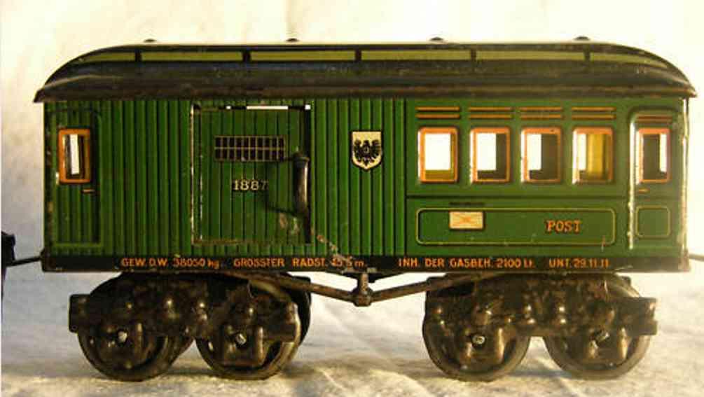 maerklin 1887/0 spielzeug eisenbahn postwagen gruen spur 0