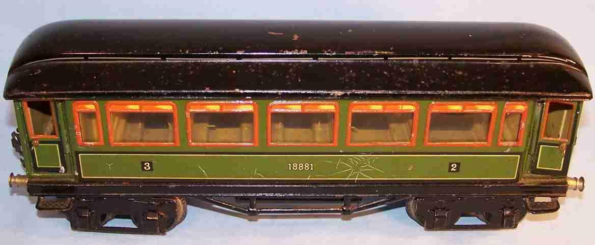 maerklin 1888/1 spielzeug eisenbahn personenwagen gruen schawrz spur 1