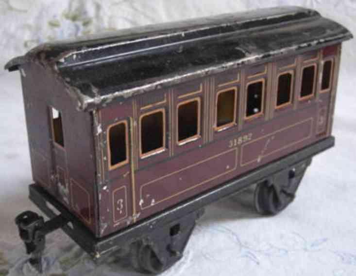 maerklin 1892/1 spielzeug eisenbahn personenwagen rotbraun spur 1
