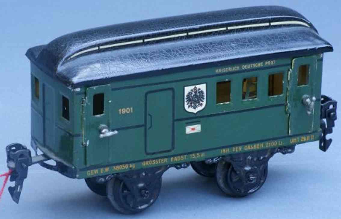maerklin 1901/0 spielzeug eisenbahn postwagen gruen spur 0