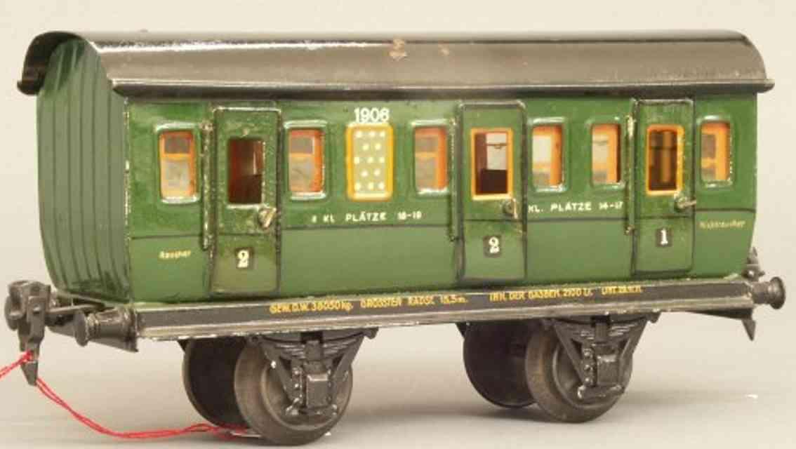 maerklin 1906/1 spielzeug eisenbahn personenwagen abteilwagen gruen spur 1
