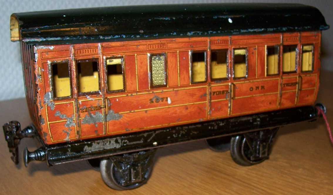 maerklin 2871/1 gnr spielzeug eisenbahn englischer abteilwagen rotbraun spur 0