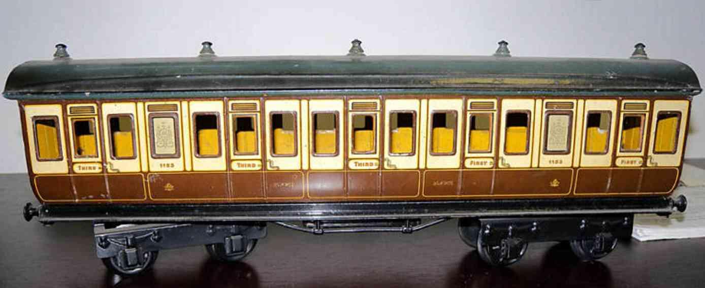 maerklin 2875/1 lnwr spielzeug eisenbahn englischer abteilwagen weiss braun spur 1