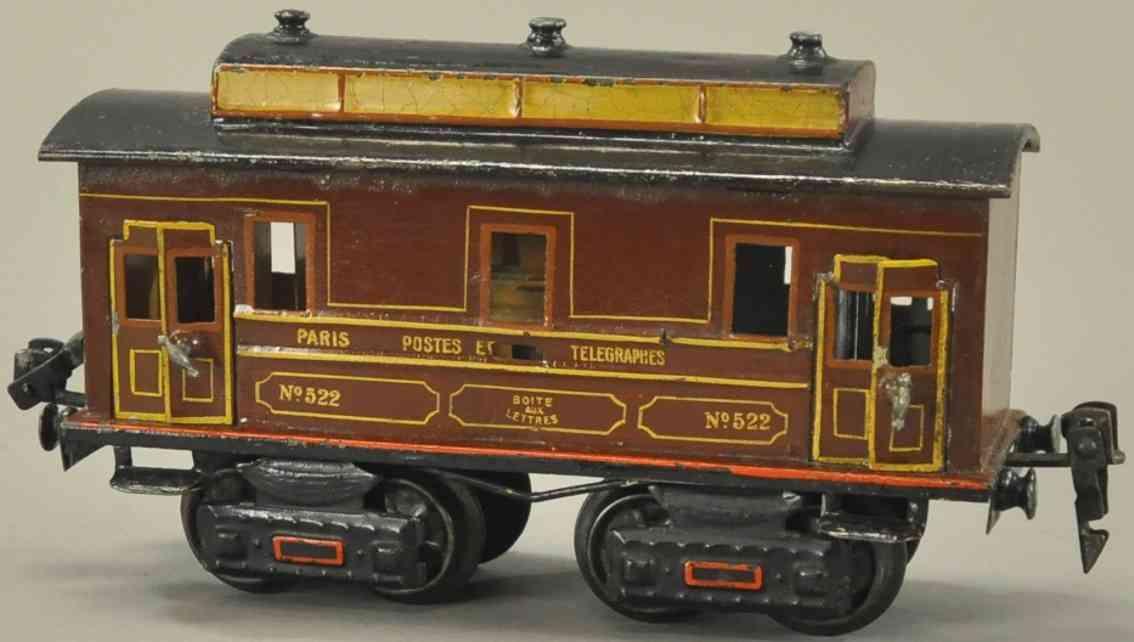 maerklin 2998/0 p eisenbahn französischer postwagen braun spur 0