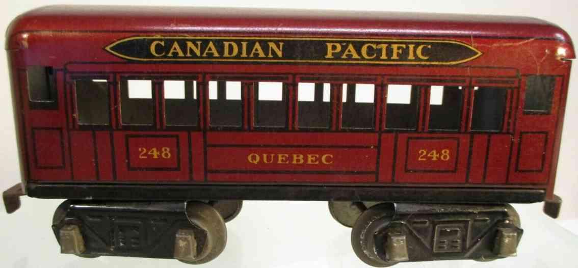 marx louis 248 railway toy coach car metallic maroon canadian pacific quebec gauge 0