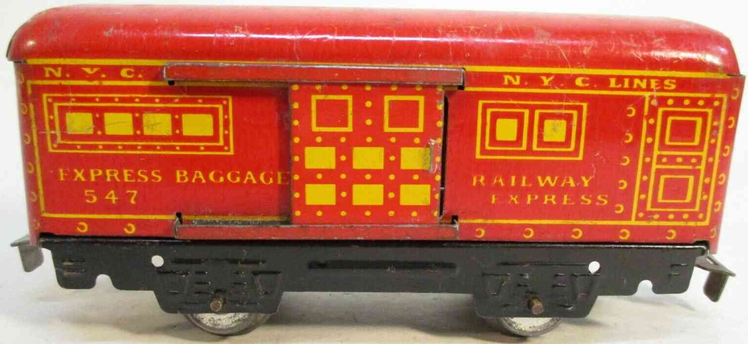 marx louis 547 nyc railway toy baggage car  red gauge 0