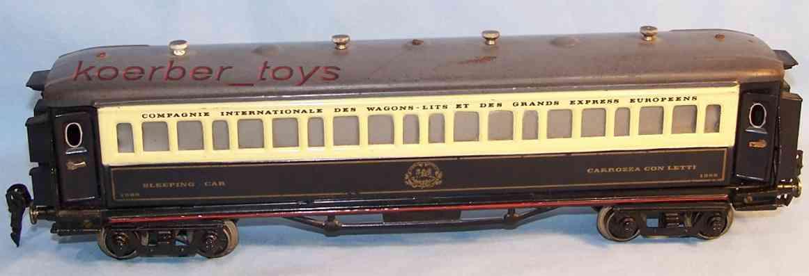 paya 1505 spielzeug eisenbahn personenwagen carrozza conletti schlafwagen 1389 in marineblau, gold, beig