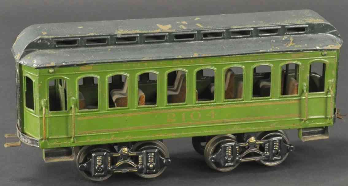 voltamp 2104 spielzeug eisenbahn personenwagen gruen spur 2 inches