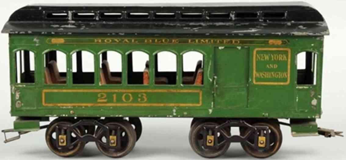 voltamp 2103 railway toy combine car green black gauge 2 inches