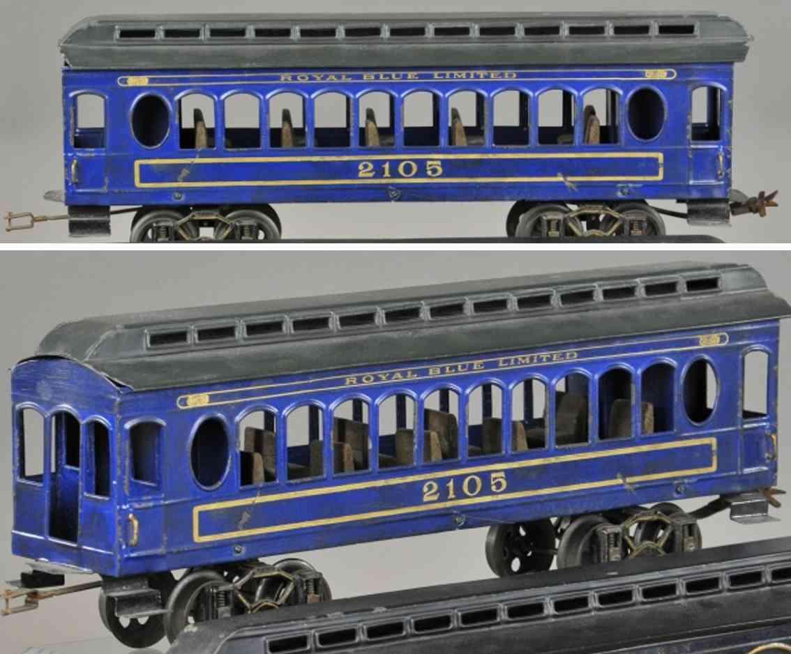 voltamp 2105 eisenbahn personenwagen blau spur 2 inches 2107