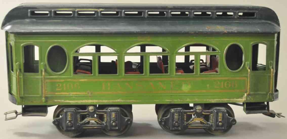 voltamp 2106 spielzeug eisenbahn personenwagen hansaned gruen schwarz gauge 2