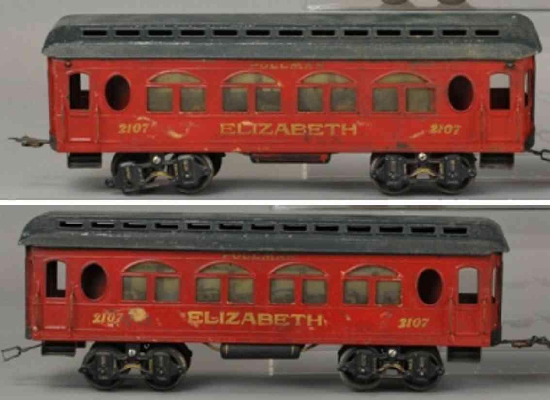 voltamp 2107 personenwagen elizabeth schlafwagen rot gruen spur 2 inches