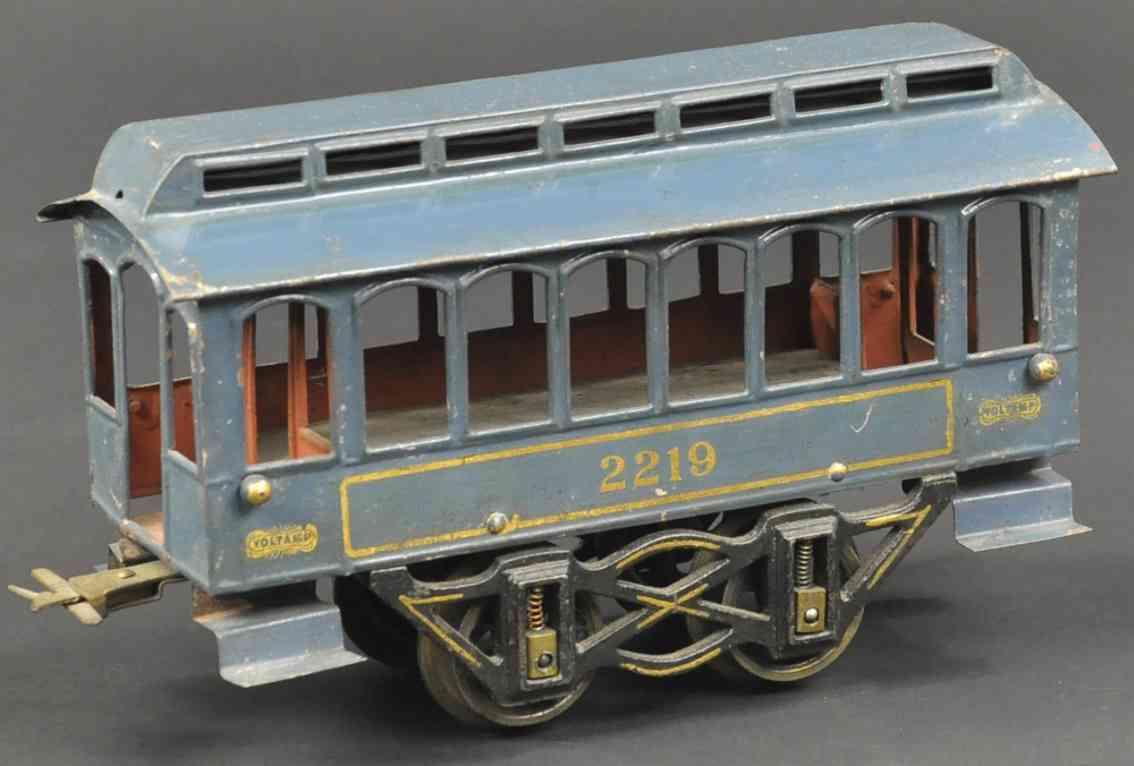 voltamp 2219 spielzeug eisenbahn personenwagen blau spur 2 inches