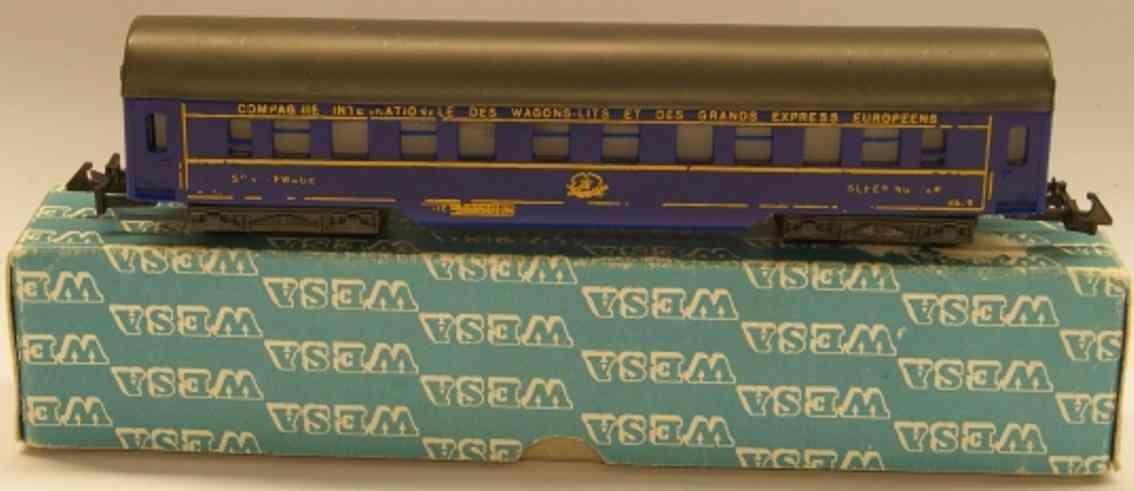 wesa 200 spielzeug eisenbahn personenwagen schlafwagen der ciwl; 4-achsig; in blau, symmetrische kupplu