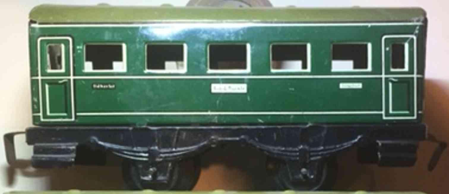 wimmer heinrich hwn 200 wsp 1958 railway toy passenger car green 5 fans gauge 0