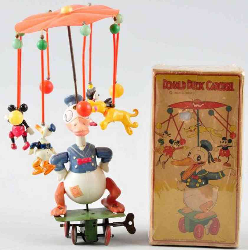 borgfeldt george & co plastik spielzeug donald duck karussell