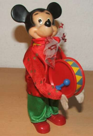carl max 604/1 celluloid toy figure micky mouse from band with clockwork for the drum and with s