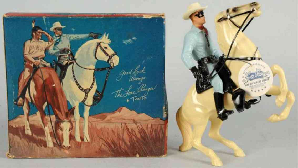 hartland 801 celluloid toy lone ranger figure riding silver