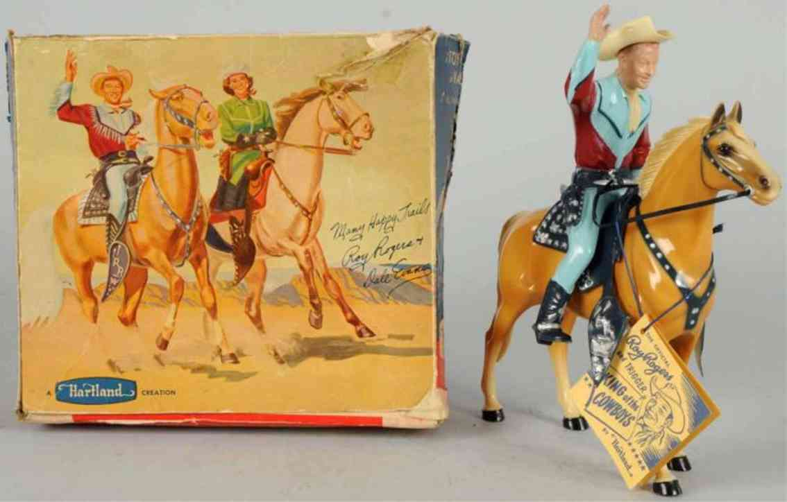 hartland 806 celluloid toy roy rogers figure riding trigger